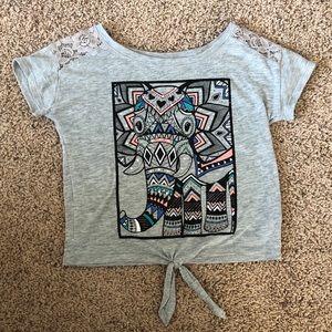 Justice Tshirt w/ Lace Shoulders & Elephant Design